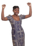 Cheering african woman with traditional clothes Royalty Free Stock Images