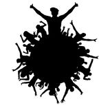 Cheering applause crowd people party, disco, concert, silhouette. Sports fans. Planet of happy people. Isolated background element. Object emblem Stock Photography