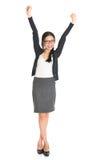 Cheering asiático da mulher de negócios Imagens de Stock