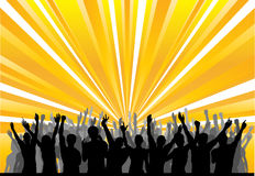 Cheering Audience. Image of a cheering audience with light show, for advertising flyer or background royalty free illustration