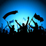 Cheering Audience with Flags Royalty Free Stock Photo