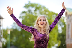 Cheering blond fashion model Royalty Free Stock Images