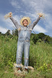 Cheering boss scarecrow Royalty Free Stock Photos