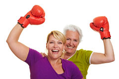 Cheering boxing women Royalty Free Stock Images