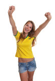 Cheering brazilian soccer supporter Stock Images