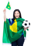 Cheering brazilian soccer supporter Royalty Free Stock Image