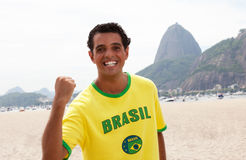 Cheering brazilian sports fan at Rio de Janeiro Royalty Free Stock Photos