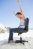 Cheering brunette using laptop on the beach sitting on swivel chair Stock Photography