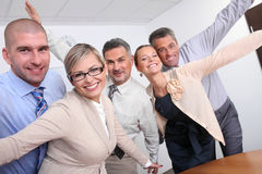 Cheering business people. Successful team of business people Royalty Free Stock Photography