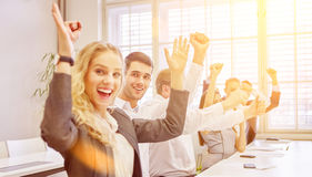 Cheering business people as winners Royalty Free Stock Images