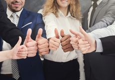 Business people holding many thumbs up royalty free stock images