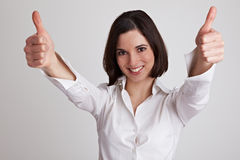 Cheering business woman Royalty Free Stock Photography