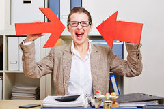 Cheering business woman pointing Stock Images