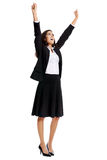 Cheering Business Woman Stock Photo