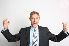 Cheering Businessman Royalty Free Stock Image