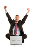 Cheering Businessman Royalty Free Stock Photo
