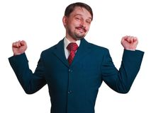 Cheering Businessman with beard looking at camera Stock Photos