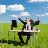 Cheering businessman Royalty Free Stock Images