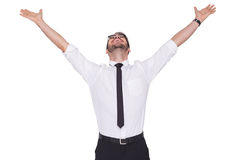 Cheering businessman with his arms raised up Stock Image