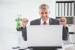 Cheering businessman at his desk Royalty Free Stock Image
