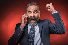 Amazing news for a senior business man Stock Images
