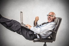 Cheering businessman stock photography