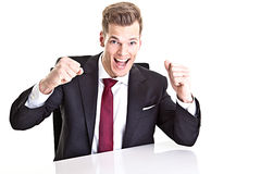 Cheering businessman Stock Photo
