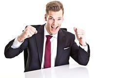 Cheering businessman Stock Photo