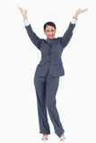 Cheering businesswoman Stock Photography