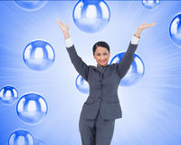 Cheering businesswoman Stock Images