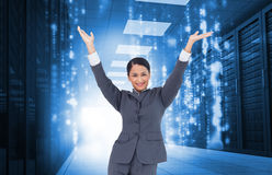 Cheering businesswoman Royalty Free Stock Image