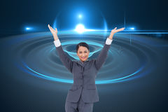 Cheering businesswoman Royalty Free Stock Photo