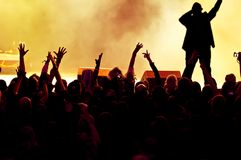 Cheering crowd. At a rock concert, young adults Stock Photos