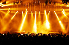 Cheering crowd. At a rock concert, young adults Royalty Free Stock Photography