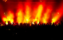 Cheering crowd. At a rock concert Stock Photos