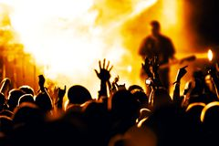 Cheering crowd. At a rock concert Royalty Free Stock Photos