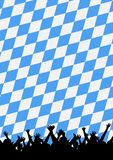 Cheering Crowd. An illustration with a silhouette of celebrating cheering crowd on a blue colored checkered pattern Royalty Free Stock Image