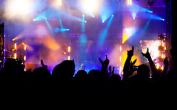 Cheering crowd at concert Royalty Free Stock Images