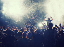 Cheering crowd at concert Royalty Free Stock Photo