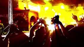 Cheering crowd at concert stock footage