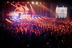 Cheering crowd at David Guetta's perfomance Stock Image