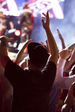 Cheering crowd in front of stage Royalty Free Stock Photography