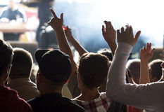 Cheering crowd in front of stage Royalty Free Stock Images