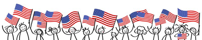 Cheering crowd of happy stick figures with American national flags, USA supporters smiling and waving star-spangled banner. Isolated on white background vector illustration