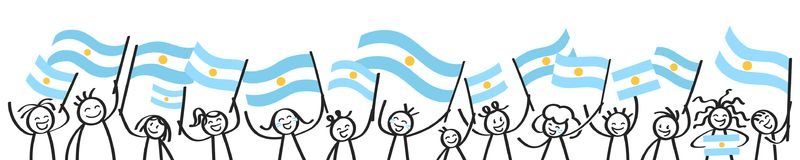 Cheering crowd of happy stick figures with Argentinian national flags, smiling Argentina supporters, sports fans. Isolated on white background Stock Photography