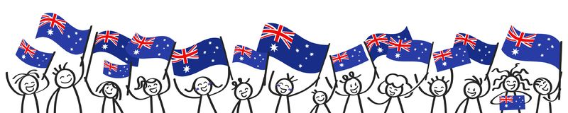 Cheering crowd of happy stick figures with Australian national flags, smiling Australia supporters, sports fans. Isolated on white background Stock Photography