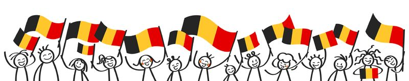 Cheering crowd of happy stick figures with Belgian national flags, smiling Belgium supporters, sports fans. Isolated on white background Stock Photo