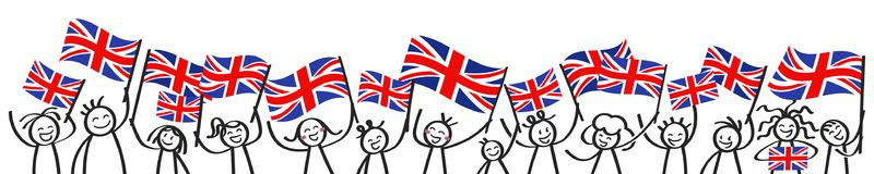 Cheering crowd of happy stick figures with British national flags, Great Britain supporters smiling and waving Union Jack flags. Isolated on white background Royalty Free Stock Image