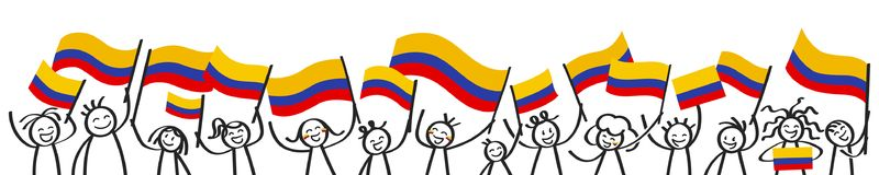 Cheering crowd of happy stick figures with Colombian national flags, smiling Colombia supporters, sports fans. Isolated on white background Royalty Free Stock Images