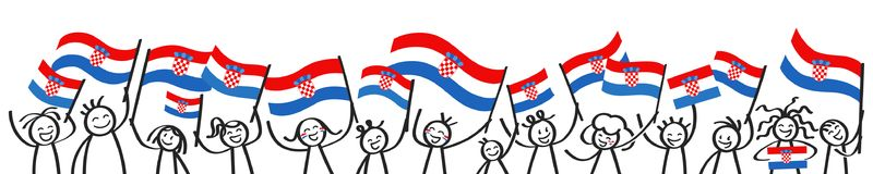 Cheering crowd of happy stick figures with Croatian national flags, smiling Croatia supporters, sports fans. Isolated on white background Stock Photography